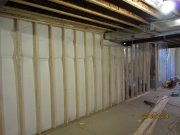Walls are framed over existing insulation