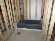 The tub is protected during construction