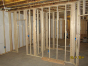 Closets between bedrooms are framed