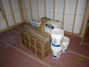 Drywall finish supplies are delivered