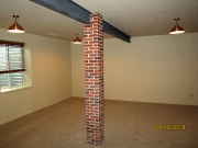 Thin brick wrapped columns throughout