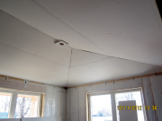 Drywall on ceiling in exercise room