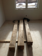 Reclaimed beams will be used for mantel pieces
