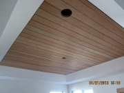 Cherry t&g ceiling in master bedroom