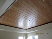 Master bedroom ceiling with dark trim