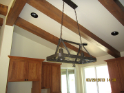 Hanging rack above kitchen island