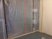 Plastic barrier to protect storage room