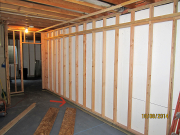 Framed basement walls double plated with void, per soils report