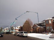 Pumping concrete over the house