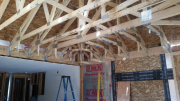 Trusses are installed, braced and sheathed