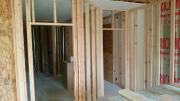 New closet and hall walls are framed