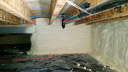 Crawlspace foundation walls are insulated with closed cell foam