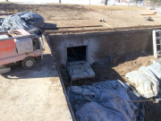 Saw cuts for new crawlspace access