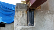 Steel post extensions are welded