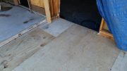 Transition of new floor to old garage