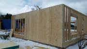 Walls are sheathed with 10 feet OSB