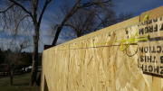 Exterior walls are braced by strings