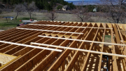 Floor joists are braced before sheathing