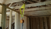 Chain hoist to lift heavy stairs