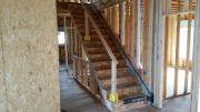 Temporary stair safety railing installed