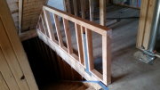 Stair half wall is framed