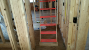 Retractable stairs to storage room