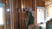 Fireplace walls were insulated with closed cell foam insulation