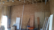Interior garage walls are sheathed