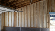 Closed cell foam insulation in garage walls