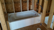 Tub is installed