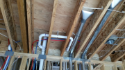 Plumbing above exercise room