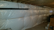 Basement walls are insulated with blankets