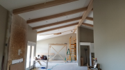 Ceiling beams in family room