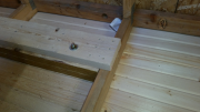 Blocks in attic to hold porch swing