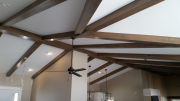 Ceiling beams over entry and kitchen