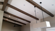 Ceiling beams over family room