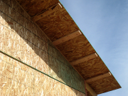 Roof overhangs are supported with 2x4 outriggers