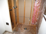 Drywall in master shower is removed