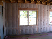 Garage walls are insulated with cellulose