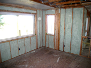 Kitchen nook walls are insulated with closed cell foam