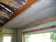 Ceiling above kitchen nook is insulated