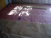 Garage floor is protected before drywall