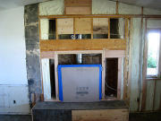 Fireplace is protected, blocks for TV installed