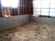 Old garage after dirt excavation