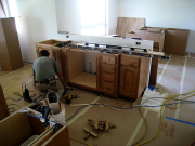 Gary working on kitchen cabinets