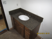 Granite countertop in hall bath installed