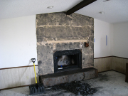 Stone from fireplace is removed