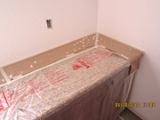 Countertops in laundry room are protected
