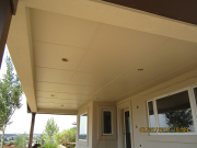 Deck soffit is painted to match stucco color