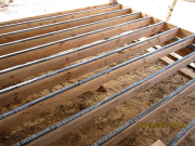 Deck joists are wrapped with vycor deck protector